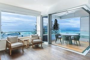 Looking out to sea from the open plan living space