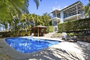 Beachfront accommodation sunshine coast - view of pool and back of 15 Mariners Place Noosa